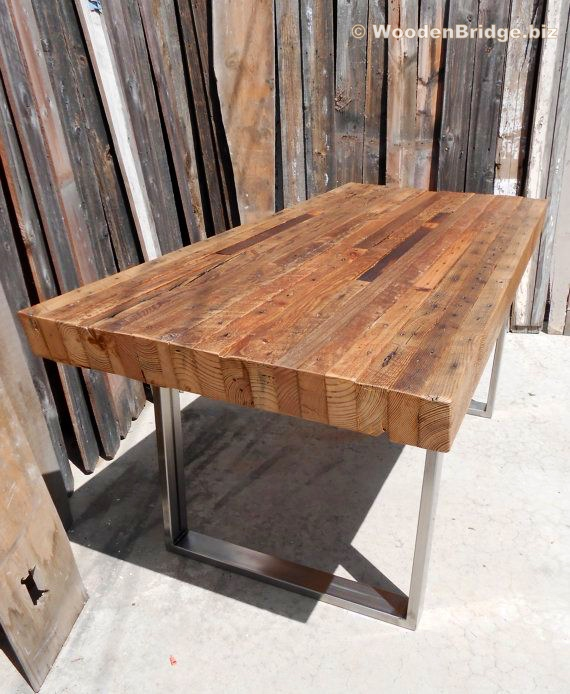Reclaimed Wood Dining Table Ideas - 570 x 694