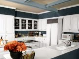 White and Moody Blue Kitchen Paint Scheme