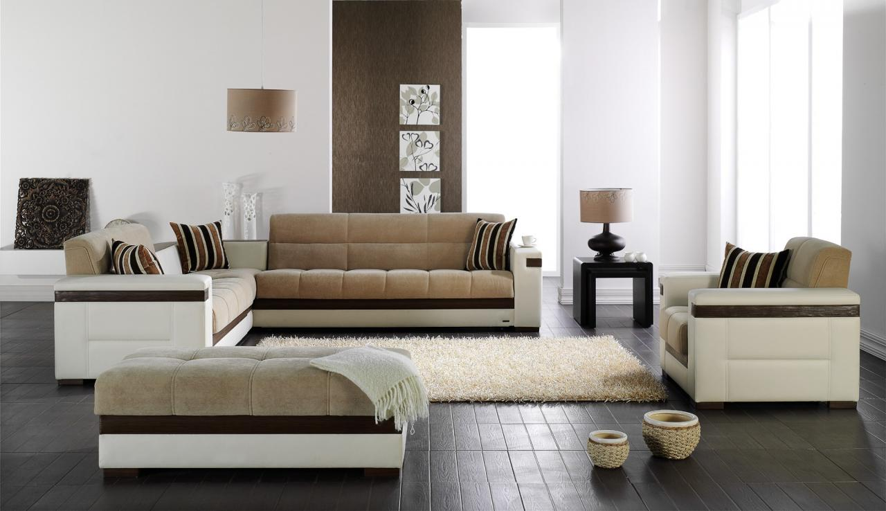 luxurious furniture sectional sleeper sofa set for living room with the looks white and tan upholstery fabric leather